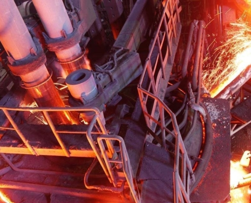 EAF being discharged with molten iron